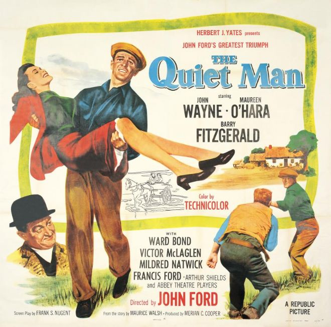 The Quiet Man Movie Poster.  1951 Iconic poster showing the fight from John Wayne's film.